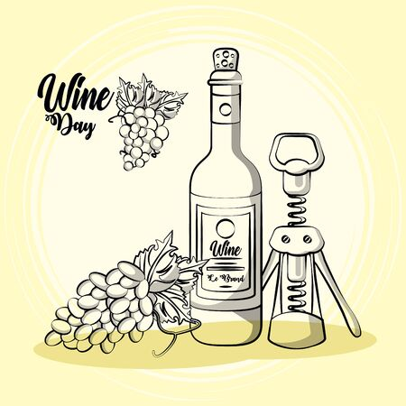 wine bottle drink with corkscrew and grapes vector illustration design  イラスト・ベクター素材