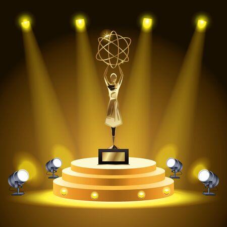films award woman lifting atom trophy vector illustration design Ilustrace
