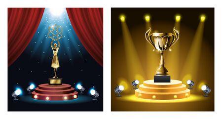 films awards set trophies icons vector illustration design