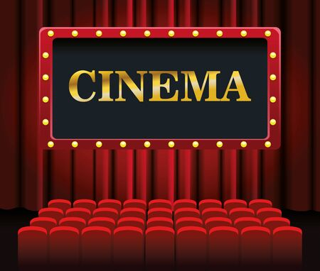 cinema screen and chairs over red theater curtains background, colorful design, vector illustration
