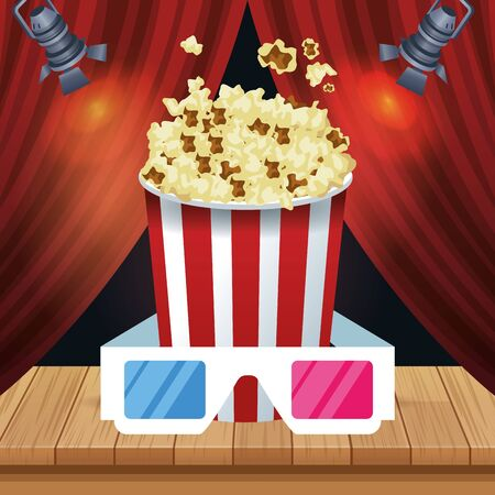 pop corn bucket and 3d glasses over red theater curtains background, colorful design, vector illustration