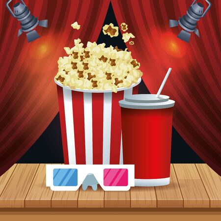 pop corn bucket with soda cup and 3d glasses over red theater curtains background, colorful design, vector illustration Ilustracja