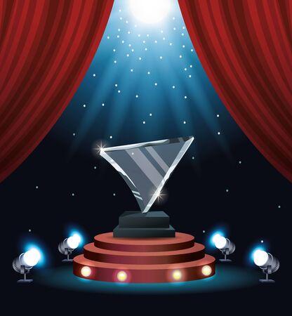films award glass triangle trophy vector illustration design Ilustrace