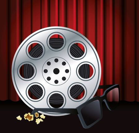film reel tape and 3d glasses over red theater curtains background, colorful design, vector illustration