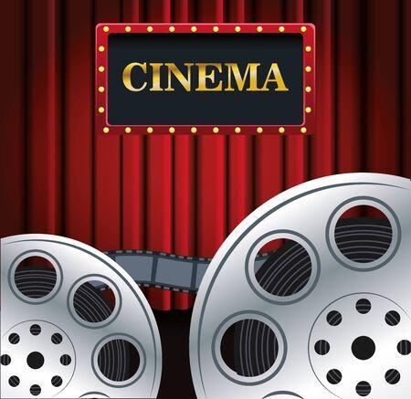 film reels over Red cinema curtains background, colorful design, vector illustration