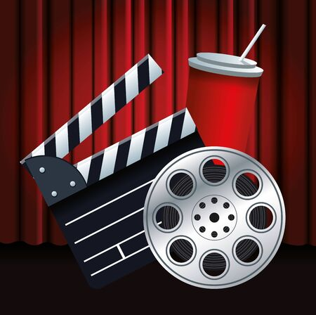 clapboard, film reel and soda cup over red theater curtains background, colorful design, vector illustration