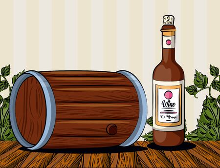 wine barrel drink with bottle vector illustration design