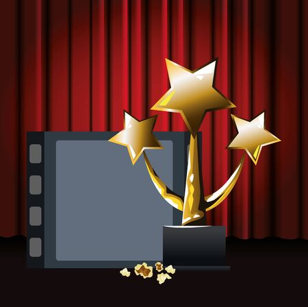 film reel with stars trophy over red theater curtains background, colorful design, vector illustration Ilustracja