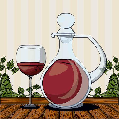 wine jar drink with cup vector illustration design  イラスト・ベクター素材