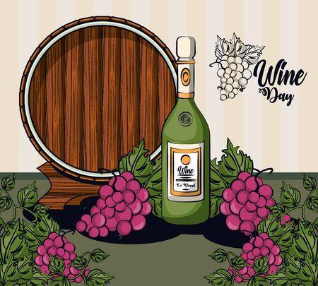 wine bottle and grapes fruits with barrel vector illustration design