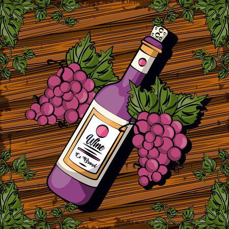 wine bottle drink with grapes fruits vector illustration design