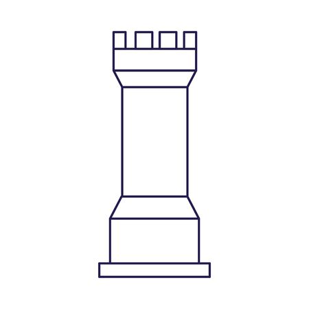 rook chess piece icon over white background, flat design, vector illustration