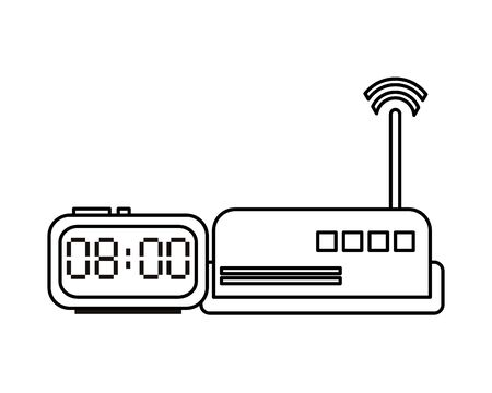 route wifi with digital watch devices technology vector illustration design