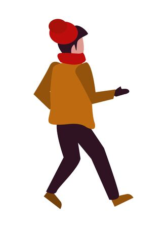 young boy with winter clothes vector illustration design