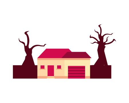 house in forest dry global warming scene vector illustration design