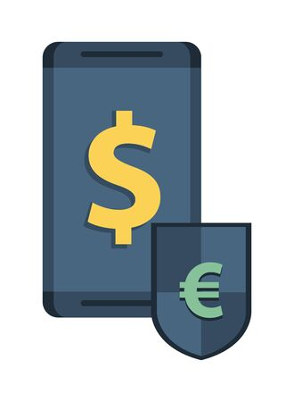 shield with euro and dollar symbol and smartphone vector illustration design