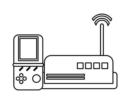 router wifi with video game devices technology vector illustration design
