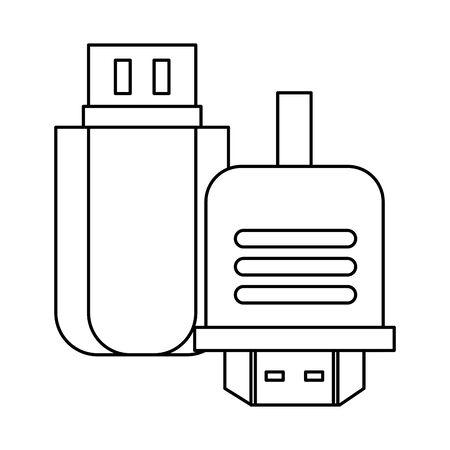 usb memory flash isolated icon vector illustration design