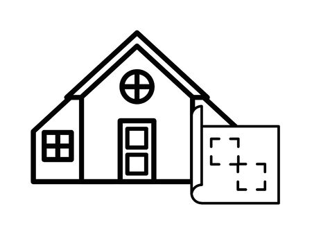 house front facade with paper map and pin location vector illustration design