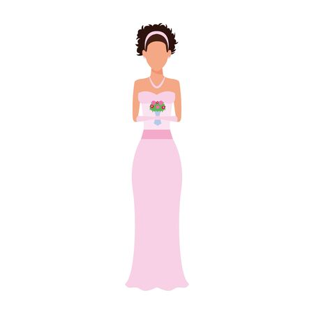 avatar bride with flowers bouquet icon over white background, vector illustration 免版税图像 - 140129708