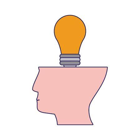 Head with bulb light symbol vector illustration graphic design