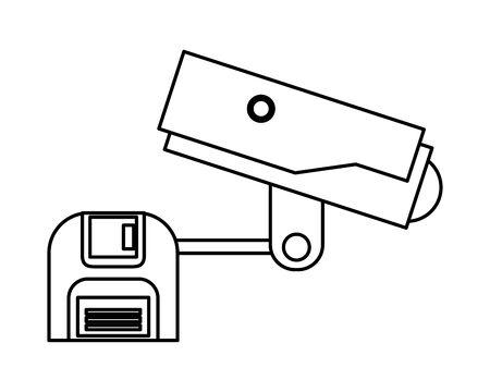 cctv video camera with floppy disk vector illustration design Иллюстрация