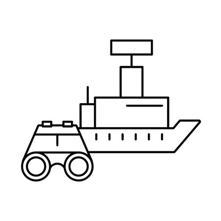 binoculars military force with ship vector illustration design