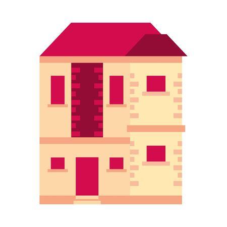 house building front facade icon vector illustration design