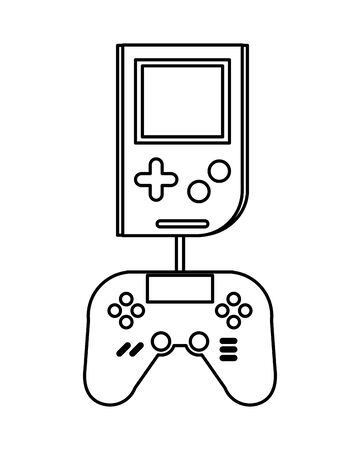 video game portable with control vector illustration design