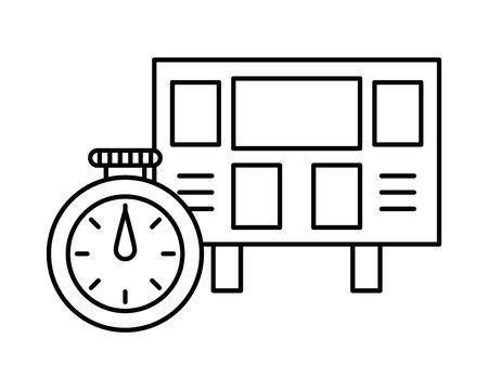 electronic scoreboard sport and chronometer vector illustration design