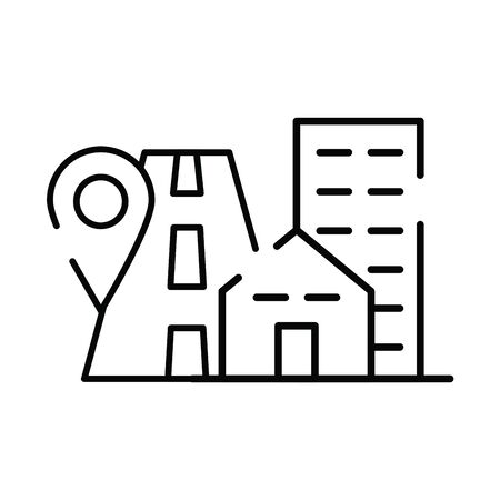 pin pointer location guide with road and buildings vector illustration design
