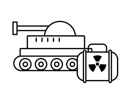 tank military force and nuclear balice vector illustration design