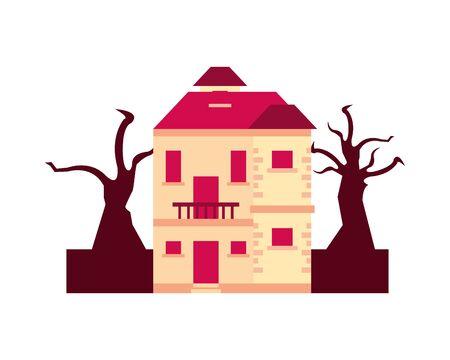 house in forest dry global warming scene vector illustration design