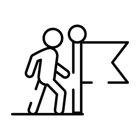 pedestrian silhouette walker with flag vector illustration design