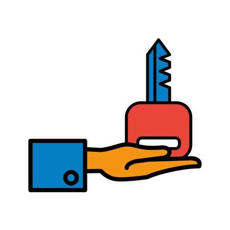 hand lifting key house door vector illustration design