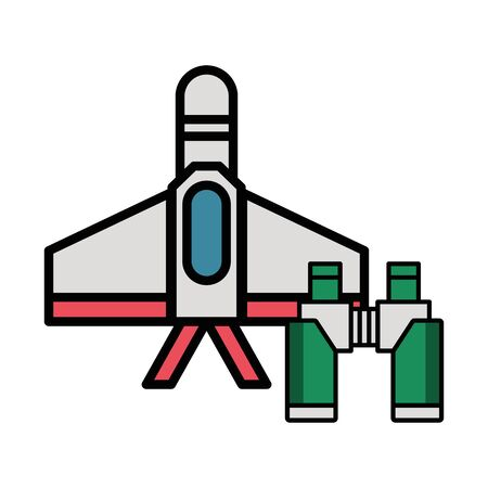 airplane military force with binoculars vector illustration design