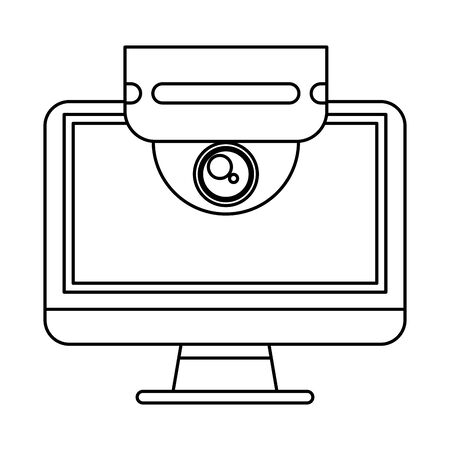 cctv video camera with display vector illustration design