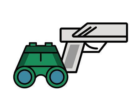 binoculars military force with gun vector illustration design