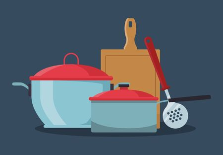 kitchen pots with chopping board and skimmer over blue background, colorful design , vector illustration