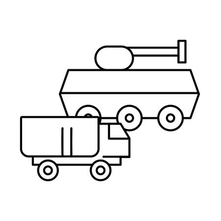 tank military force with truck vector illustration design Ilustrace