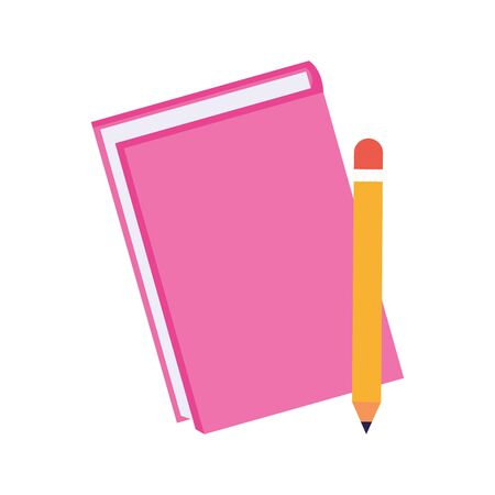 pink notebook and pencil icon over white background, vector illustration Vettoriali