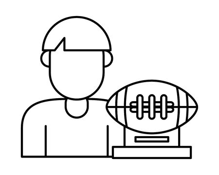 american football sport balloon trophy award and player vector illustration design Ilustracja