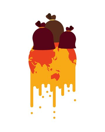 world planet melting global warming with garbage bags vector illustration design