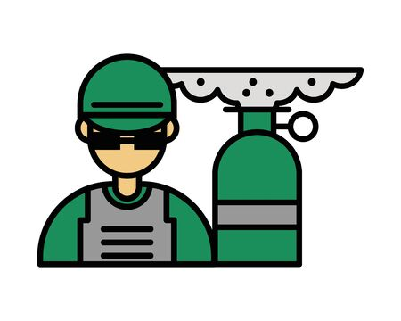 soldier military force with smoke bomb vector illustration design