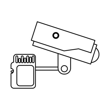 cctv video camera with sd card vector illustration design