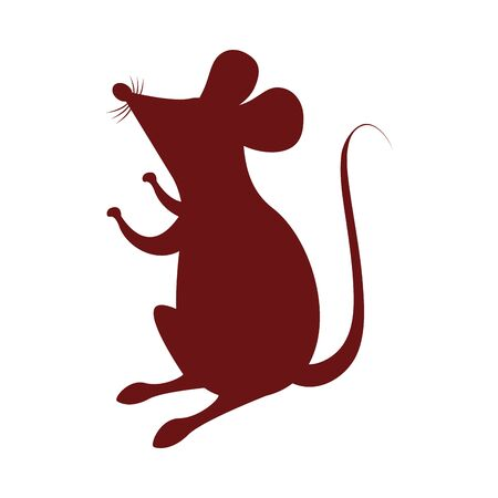 cute little mouse silhouette icon vector illustration design Иллюстрация