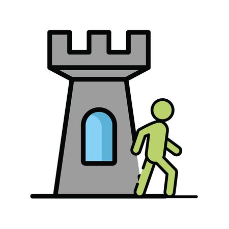 pedestrian silhouette walking with tower vector illustration design