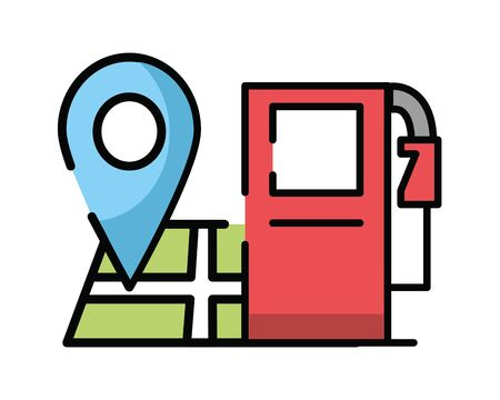 paper map guide with fuel station icon vector illustration design