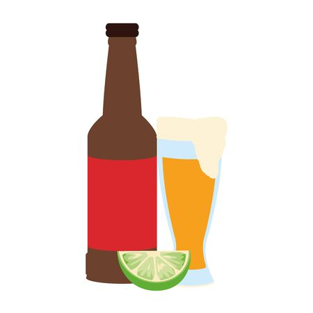 beer glass and bottle icon over white background, vector illustration