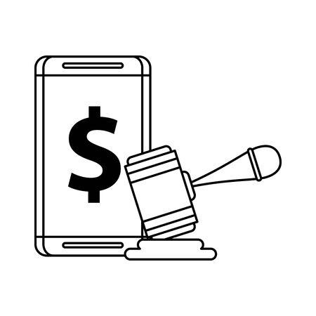 smartphone with dollar money symbol vector illustration design Ilustracja
